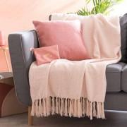 Maisons du monde Plaid rosa chiaro in cotone 150x200
