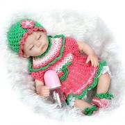 Nicery Renacer Bebé la Muñeca Vinilo Simulación Silicona Suave 18 pulgadas 45cm Boca Magnética Natural Niña Niño Juguete Boy Girl Red Green Flower Dress Eyes Close