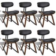 vidaXL Комплект столове за хранене с облегалка, изкуствена кожа, 6 броя