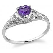 Heart-Cut Amethyst Gemstone Ring, 14K White Gold