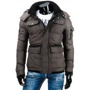 Pánská zimní bunda s odnímatelnou kapucou hnědá - XXL