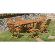 Drveni baštenski set - sto i 6 stolica