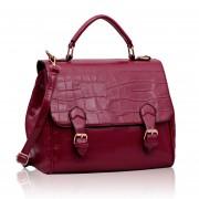 Kabelka LS00217 - Burgundy Mock Crocodile Satchel Handbag