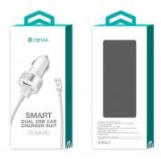 Devia Dual USB Smart Charger Lightning Suit - зарядно за кола с 2xUSB изхода и Lightning кабел за iPhone, iPad и iPod (бял)