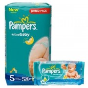 Scutece Pampers 5 Active Baby 11-18kg (58)buc+Servetele Pampers Baby Fresh (64)buc