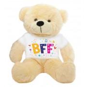 Peach 2 feet Big Teddy Bear wearing a BFF T-shirt