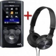 Pachet MP3 Player Sony Walkman NWZE384R + casti MDRZX310 Negru