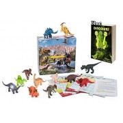 Dinosaur Toys 7''- 12 Large Assorted Figures +e Book with Trivia Dinosaurs Game- by TOOKKY