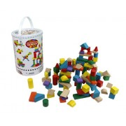 Wooden Blocks - 100 Pc Wood Building Block Set with Carrying Bag and Container (Rainbow Colored) - 100% Real Wood