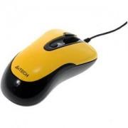 Мишка A4tech N-61FX-4 Жична мини мишка, жълта, с прибиращ се кабел - A4-MOUSE-N-61FX-4