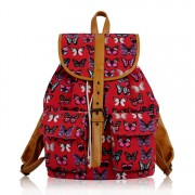 Batoh LS00269B - Red Butterfly Print Rucksack Bag - Canvas