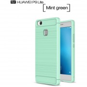 Popsky Fibra De Carbono Monedero Caso Para Huawei P9 Lite (Verde)