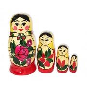 Russian Matreyshka Matreshka Matryoshka Matrushka Babushka Floral Nesting Semenova Doll 4 Nested Han