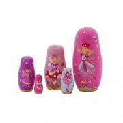 5Pcs Nesting Cute Wooden Russian Hand Painted Stacking Dolls Matryoshka Angel Fairy Pattern 5.7-inch Christmas Gift (Girl Pink)