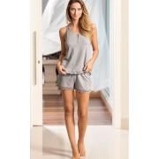 Pijama Feminino Mixte Adulto Regata Peitilho e Short Cinza