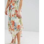 Orion Sarah Tropical Flower Print Midi Skirt - Cream
