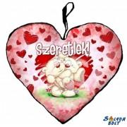 Szív alakú párna, Pimi maci ölben, szeretlek