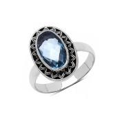 Inel argint si topaz albastru