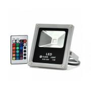 Projecteur LED - 10W / Etanche / Utilisation exterieure / Multicouleur / Telecommande