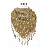 Driehoek sjaal met bloemmotief bruin