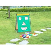 Face Target Toss Game4 Pcs Targets In Red, Green, Blue And Yellow6 Pcs Each Of Nylon Covered Foam Pucks, Bean Bags And F