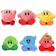 Kirby Plush Strap 6pcs Star Doll Stuffed Animals Cute Soft Anime Collection Toy by Latim