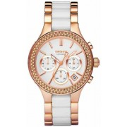 DKNY Ladies Rose Gold Tone Barcelet With White Ceramic NY8183 Karóra