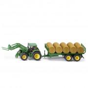 Siku Traktor med rundbalsvagn John Deere 1:32 541322