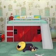 Cama Infantil Minha Cabaninha com Escorregador Vermelho - Katzer