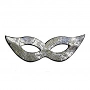 Silver Sequined Masquerade Mask With Cat Eyes