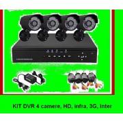 Kit Sistem supraveghere 4 camere CCTV DVR internet, infrarosu night vison, HDMI,optiune vizionare de pe Smartphone,