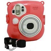 [Fujifilm Instax Mini 25 Camera Case] -- CAIUL Transparent Comprehensive Protection Instax Mini 25 Instant Film Camera Case Bag With PVC Material [Ever Ready Design ] (Pink)
