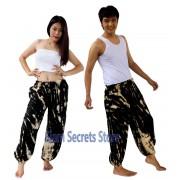 Tie Dye Hippy Trousers Black Low Colour Beach Harem Pants