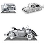 Set of 3 Metal Earth 3D Laser Cut Model Kits: Checker Cab - Beach Buggy - San Francisco Cable Car