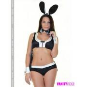 Costume coniglietta nero inserti bianchi LadyB