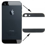 High Quality Back Cover Top & Bottom Glass Lens for iPhone 5 (Black)