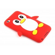 Rood pinguin siliconen hoesje voor de iPod Touch 4g