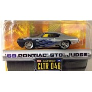 Dub City Big Time Muscle / 69 Pontiac Gto Judge / Silver W Blue Flames / Cltr 046 / 1:64 Scale Die Cast Collectible / Jada Toys 2005