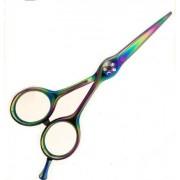 Professionell frisörsax, regnbågsfärgad titanyta, 13.5 cm