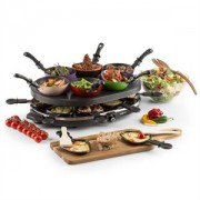 oneConcept Woklette asztali grillező, raclette grillező, wok készlet, 1200 W, 8 személy, tapadásmentes (GQ19-Woklette)
