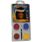 Eulenspiegel 204214 - Kit trucco da indiano, 4 colori, incl. pennelli e istruzioni