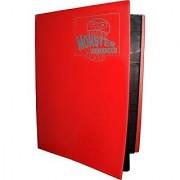 Monster Binder - 4 Pocket Trading Card Album - Matte Red (Anti-theft Pockets Hold 160+ Yugioh Pokemon Magic the Gathering Cards)