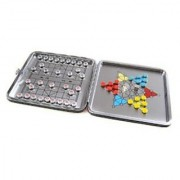 Attica Alu Series: aluminium leather box 2-in-1 game set D : Xiangqi Halma / Chinese Checkers - with magnetic game pieces playing board 11 5cm x 11 5cm x 0 7cm (XY011P2N US)