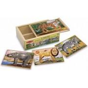 Set 4 puzzle lemn in cutie Animale salbatice Melissa and Doug