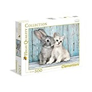 Clementoni 35004.9 Jigsaw Puzzle High Quality Collection 500 T, Cat and Rabbit Classic