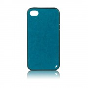 Калъф с кожен гръб Fashion Style – силиконов за IPhone 5s син