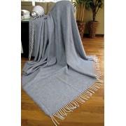 Manta de lana con franja , 80% Lana, 140 X 200cm, modelo Milano-270 , color gris/azul - blanco