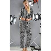 Pijama Feminino Adulto Mixte Longo Aberto com Estampa Preto e Branco em Tricoline