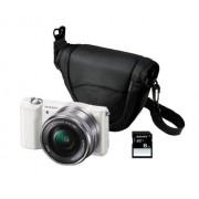 "Sony ILCE-5000LW Cámara EVIL de 20.1 Mp (pantalla articulada 3"", estabilizador, vídeo Full HD, WiFi), color blanco kit con objetivo 16-50mm f/3.5 OSS, funda y tarjeta SD de 8 GB"