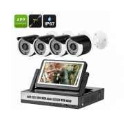 4 Canaux DVR Kit - 7 pouces LCD, 4x 720P Camra Etanche, dtection de mouvement, vision nocturne, Mobile Support
